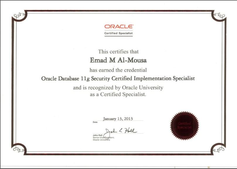 Oracle Database 11g Security Certified Implementation Specialist