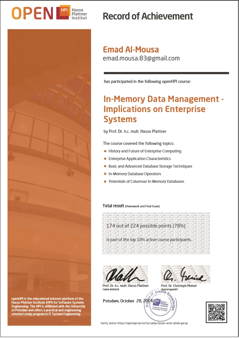 OpenHPI Certificate - In-Memory Data Management Implications on Enterprise Systems