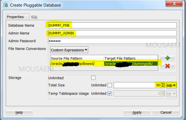 create pluggable database GUI