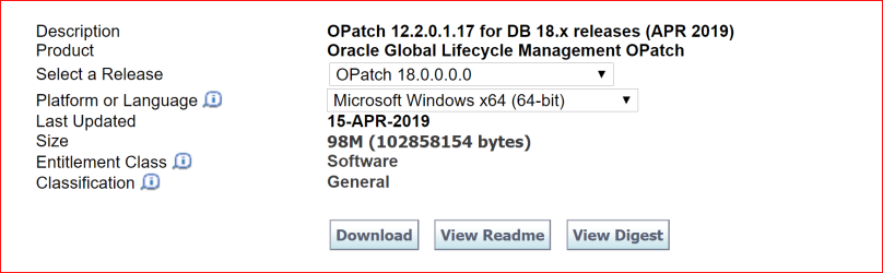 Patching Oracle 18c database in Windows – Geodata Master